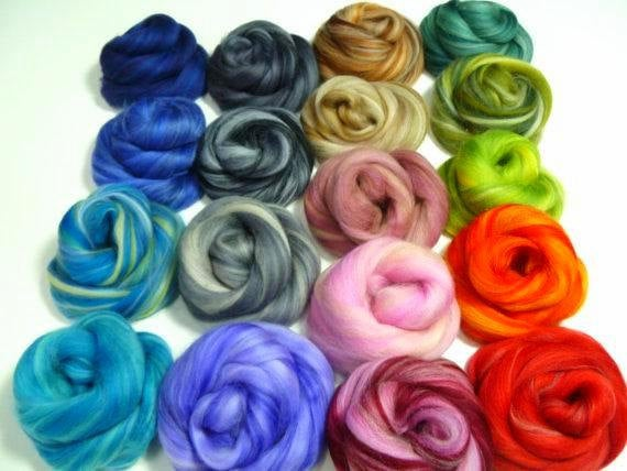 Varigated Felters Palette superfine merino wool, 4oz,18 colors,Varigated Mix