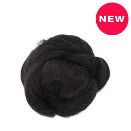 1 oz  Tussah Silk Roving, black