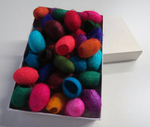 20  Hand dyed Silk cocoons (Mixed Jewel Tones)