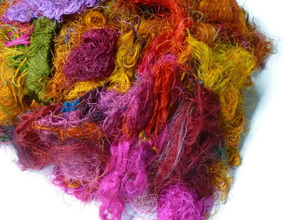 Sari Silk Fiber,1 oz,Mix(warm colours)