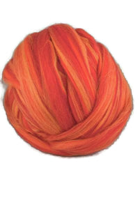 Merino roving ,superfine, blend ,color:Sicilian Orange