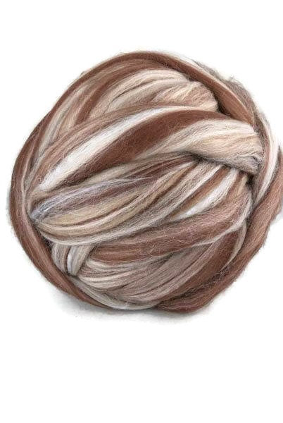 Superfine merino wool roving 19 microns 4 oz,color blend (St-Martin)