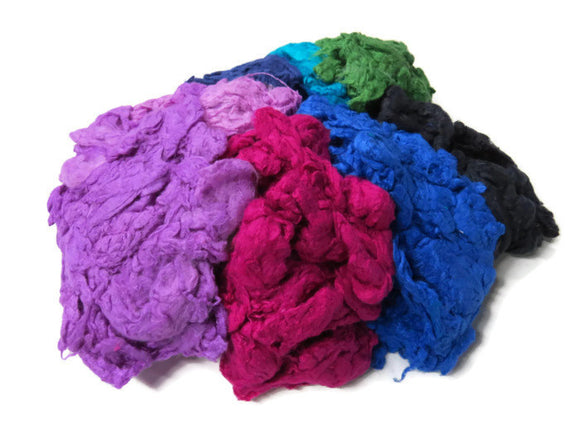 Hand Dyed Silk Noil Mix,(cold colors)
