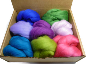 Felters Palette Merino Wool Roving - 8 Vibrant Summer Day Colors Superfine Wool Fibers Assortment