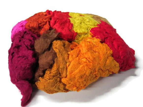 Hand Dyed Silk Noil Mix (warm colours)