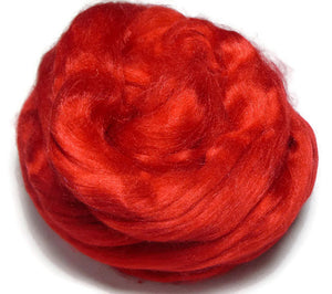1 oz Tussah Silk Roving Passion Red