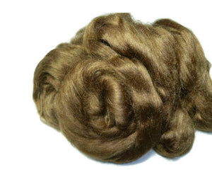 Tussah silk roving  , color Nut.