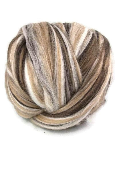 Superfine merino wool roving 19 microns 4 oz,color blend (Cappucino)