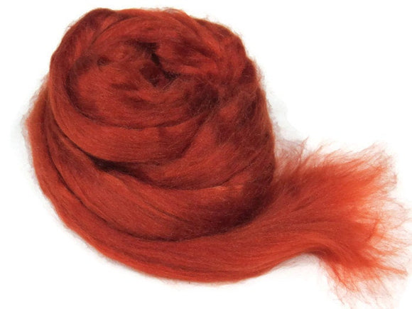 1 oz Tussah Silk Roving , Rust
