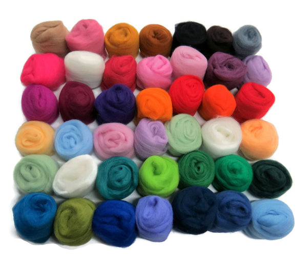 Felting Wool Roving Palette Kit - 42 Corriedale Color Assortment Mix Variety Super Combination Pack