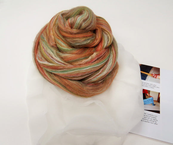 Nuno felting Scarf Kit,  Color: Cinnamon