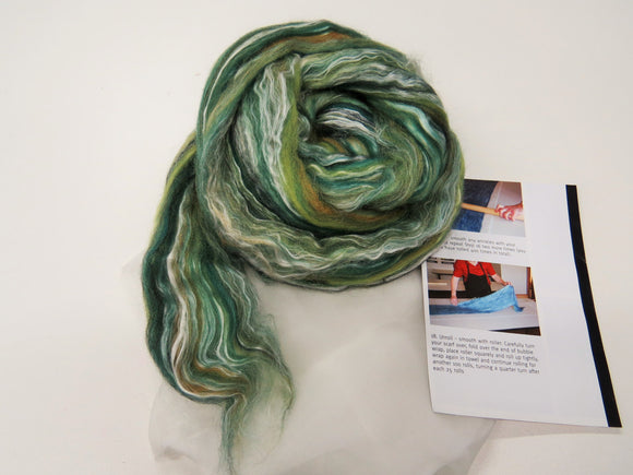 Nuno felting Scarf Kit,  Color: Peppercorns