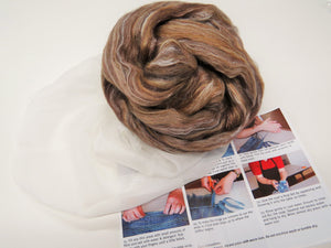Nuno felting Scarf Kit,  Color: Spice