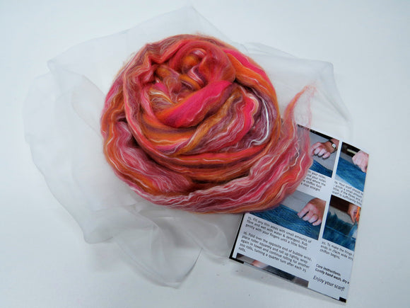 Nuno Felting Scarf Kit - Merino Silk Wool Roving Sunset Orange Pink with Tutorial Instructions