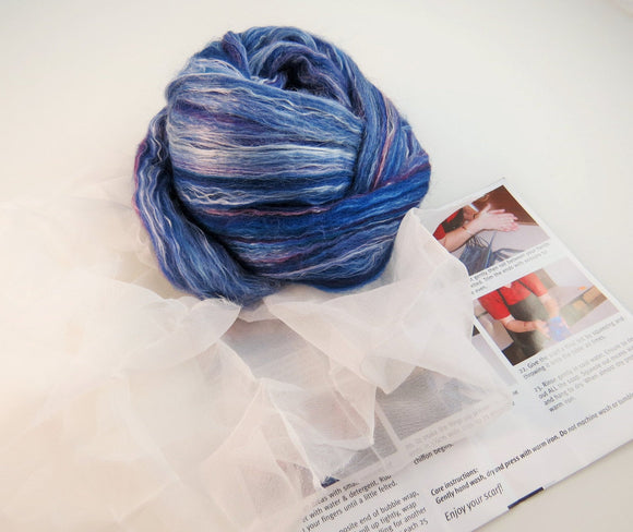 Nuno felting Scarf Kit,  Color: Damson