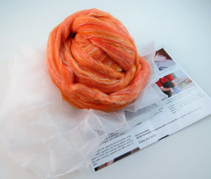 Nuno felting Scarf Kit,  Color: saffron