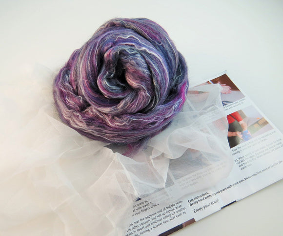 Nuno felting Scarf Kit,  Color: Juniper