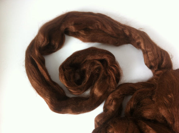 1 oz Tussah Silk Roving , Bark