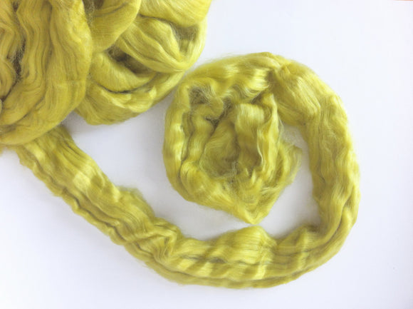 Tussah Silk roving ,color Citron
