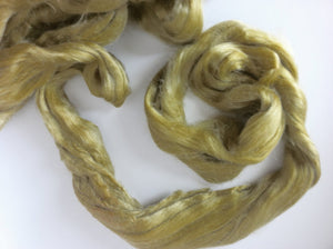 1 oz Tussah Silk Roving , Luxury fiber for spinner and felters. color Sage