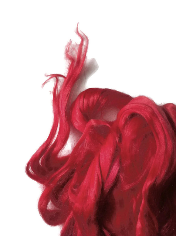 Ramie Roving : Ramie fibers in tones of Passion Red