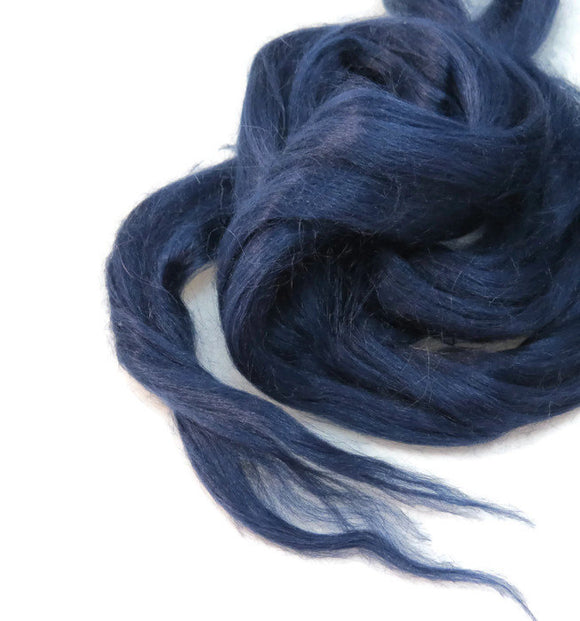 Ramie Roving : Ramie fibers in tones of Navy Blue called Tuarag