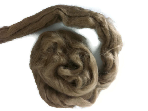1 oz Tussah silk roving  , color Earth.
