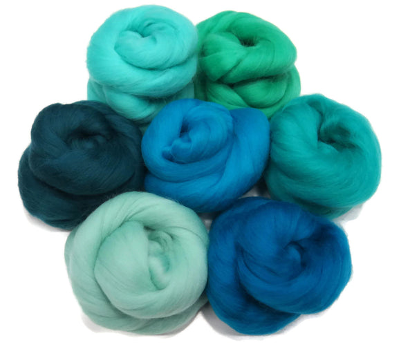 Felters Palette Merino Wool Roving - 7 Vibrant Blue Lagoon Colors Superfine Wool Fibers Assortment