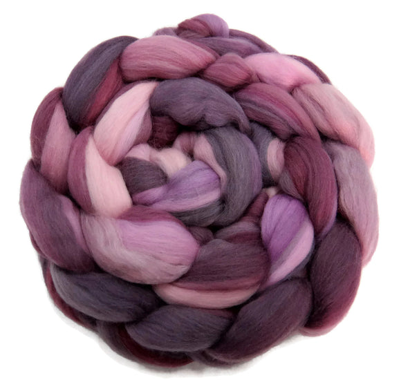 Superfine merino wool roving 19 microns 4 oz,Tempera Collection ( Irises)