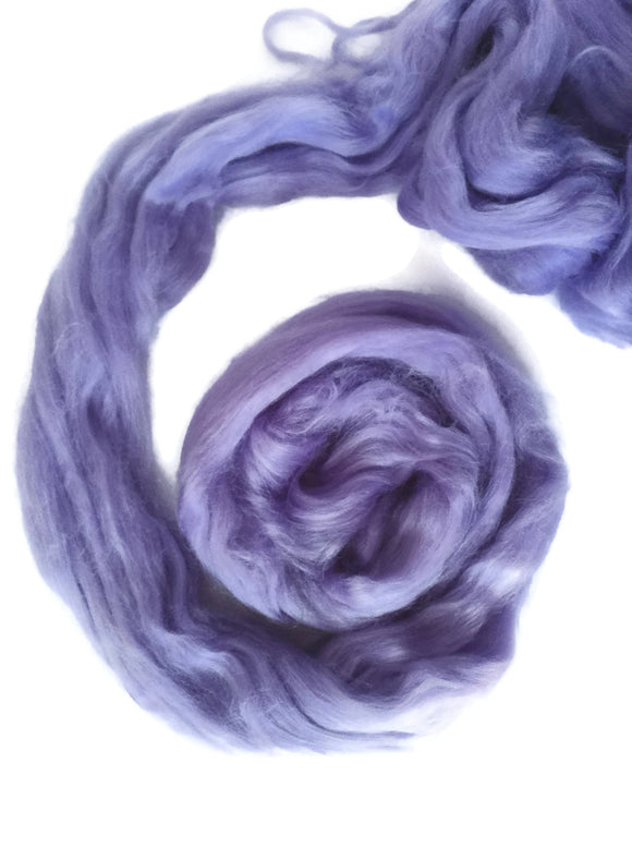 1 oz Tussah Silk Roving , Luxury fiber for spinner and felters. color Lilac