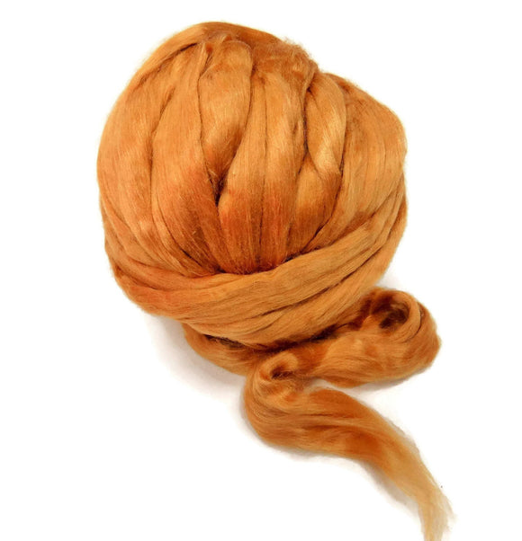 New! Red Eri Silk Roving, Naturally copper red for felting and spinning.
