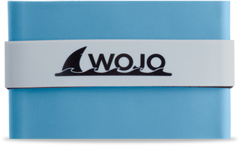 light blue wojo wallet