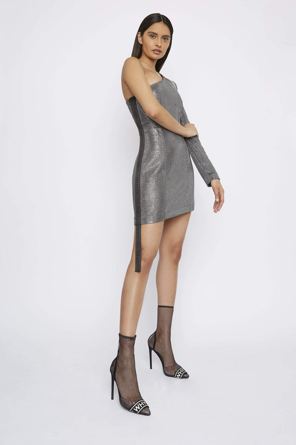 THE ''ASTRO'' ONE-SLEEVE SILVER DRESS - Dress - Whyte Studio