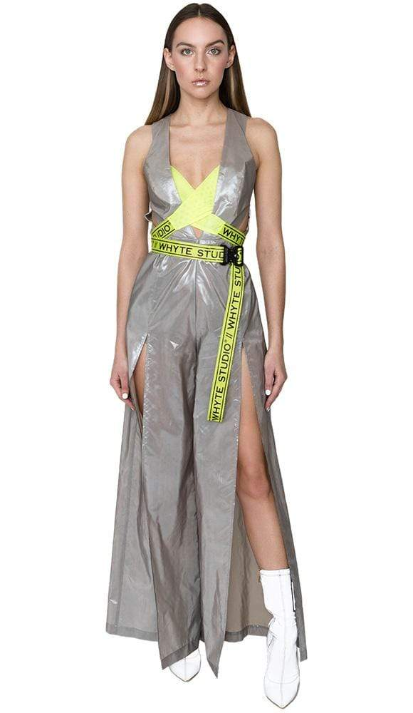 SHINY JUMPSUIT WITH BRANDED BELT - Jumpsuit - Whyte Studio