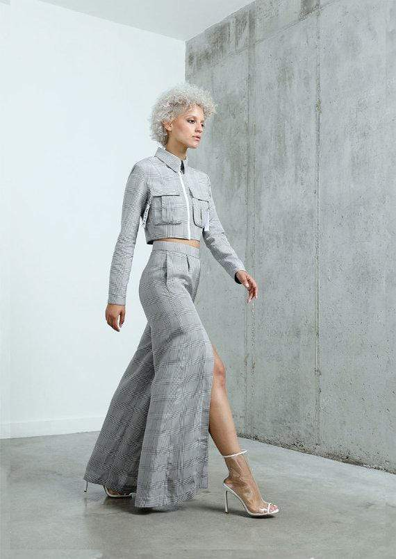 THE CHECKERS WIDE LEG TROUSERS - Pants - Whyte Studio