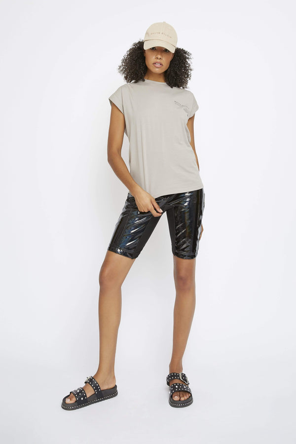 THE 'TURBULENT' HOLOGRAPHIC HIGH-WAISTED BIKER SHORT - Pants - Whyte Studio