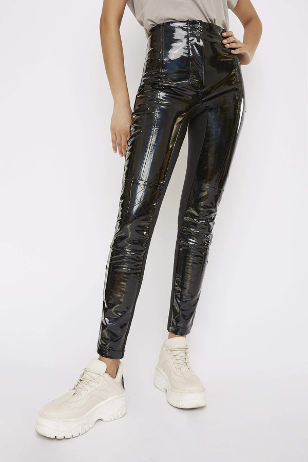 THE 'TURBULENT' HOLOGRAPHIC HIGH-WAISTED BIKER TROUSER - Pants - Whyte Studio