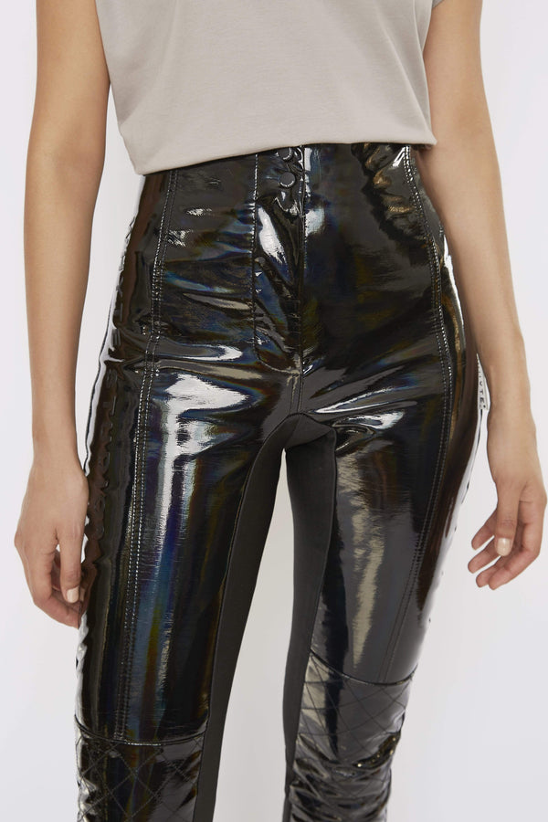 Pants THE 'TURBULENT' HOLOGRAPHIC HIGH-WAISTED BIKER TROUSER