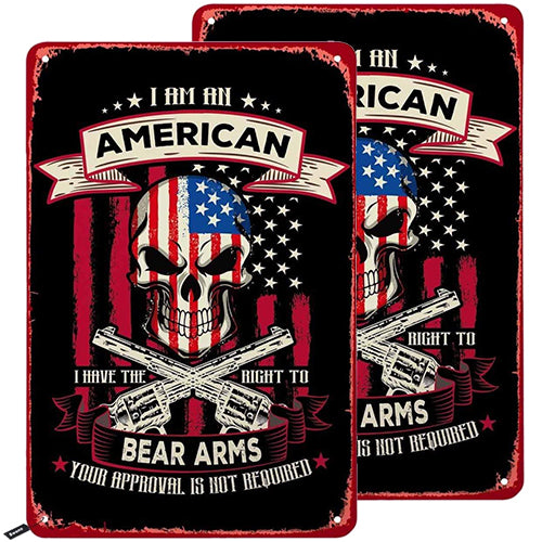 Pack 2 I Am an American I Have The Right to Bear Arms Vintage Metal Tin Sign