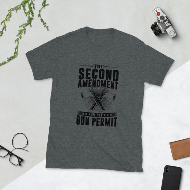 The Second Amendment Is My Gun Permit GRUNGE Short-Sleeve Unisex T-Shirt