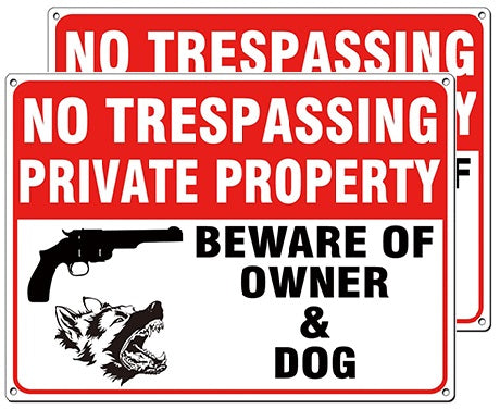 Pack 2 No Trespassing Private Property Beware of Owner and Dog Sign