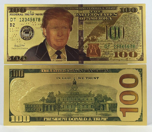 Authentic POTUS Donald Trump $100 Bill (24kt gold plated)