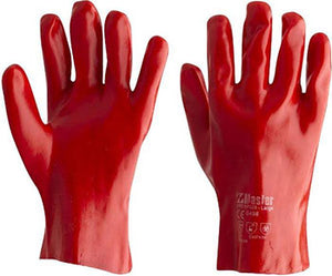RED PVC GLOVES 27CM(PAIR)