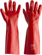 RED PVC GLOVES 45CM (SINGLE DIPPED)