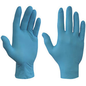 NITRILE BLUE MEDIUM GLOVES(100)POWDER/FR