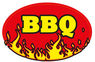 BBQ FIRE LABEL-OVAL (1000)