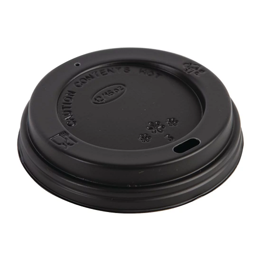 12oz Sip-Through Disposable Domed Lid - Black 1000x (10x100)
