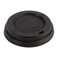 8oz Sip-Through Disposable Domed Lid - Black 1000x (10x100)