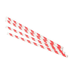 Straws - Red & White Paper 6mm (1x250)