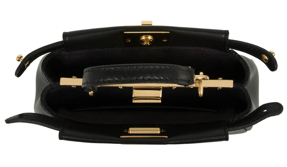 Fendi Peekaboo Micro Leather Shoulder Bag